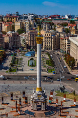 Fototapete - Kiev , Ukraine - August 30, 2019 : Maidan square skyline cityscape Landmark