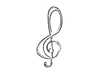 Sketch of a treble clef. Musical note - Vector