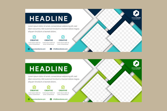 blue green abstract corporate business banner template, horizontal advertising layout. flat design. clean geometric cover header background for website design. square space for photo collage.
