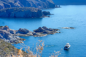 Divers and Dive Boat, San Carlos Bay on the Sea of Cortez