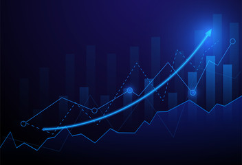 Business candle stick graph chart of stock market investment trading on blue background. Bullish point, Trend of graph. Eps10 Vector illustration. Wall mural