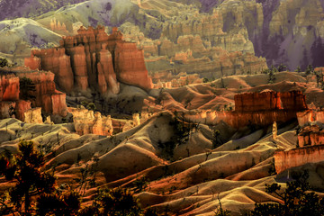 crimson-colored hoodoos. Tufa formations glowing in Bryce Canyon National Park, early morning, Sosuthern Utah