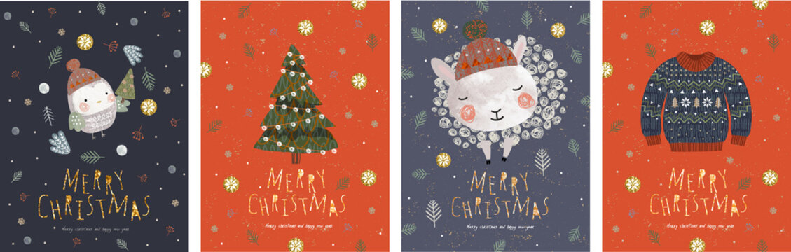 Merry Christmas and a happy new year! Vector illustrations for the winter holidays: cute animals and a bird in a Santa Claus hat, a knitted sweater, christmas tree.Drawings for card or postcard