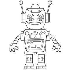 Coloring Page Outline Of cartoon robot for children. Vector. Coloring book for kids.