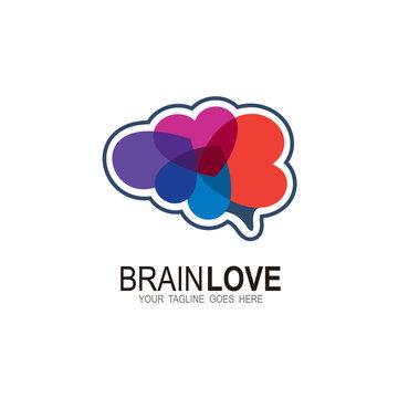 Brand logo with love design template, Health logo,