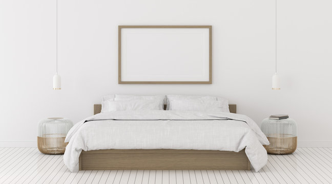 Perspective of modern bedroom with picture frame and white hanging lamp, Interior idea of minimal style. 3D rendering.