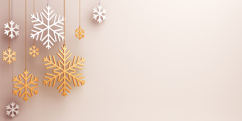 Winter abstract design creative concept, hanging gold silver snow icon confetti glitter on background. 3D rendering illustration.