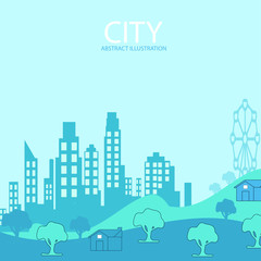 Printed kitchen splashbacks Light blue city background illustration with copy space for text. Simple minimal geometric flat style - vector city landscape with buildings, hills and trees - abstract horizontal banner and background
