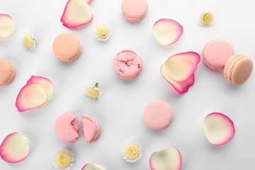Foto auf Leinwand Macarons Different tasty macarons with flower petals on white background