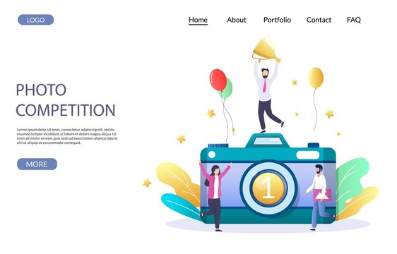 Photo competition vector website landing page design template