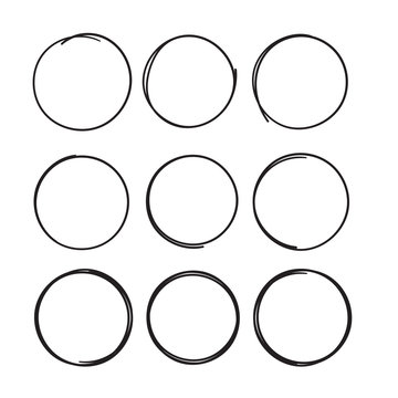 Hand drawn circle line sketch set Vector isolated on white