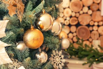 Decorated Christmas tree, closeup view