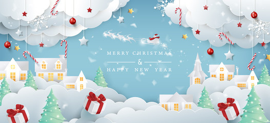 Canvas Prints Pool Merry christmas composition in paper cut style.Santa Claus on the sky Vector illustration.