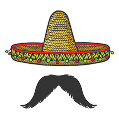 Mexican sombrero hat and mustache sketch engraving vector illustration. T-shirt apparel print design. Scratch board style imitation. Black and white hand drawn image.