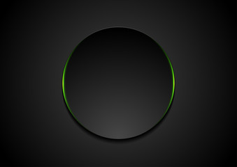 Wall Mural - Black abstract circle shape with green glowing light tech background. Vector neon corporate design