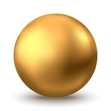 Gold sphere or oil bubble isolated on white background.