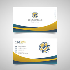 name card business design template with front and back cover design with gold and blue color - vector
