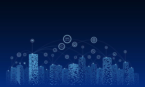 Communication and networking in a digital society. Sky background. Future city or smart city concept.