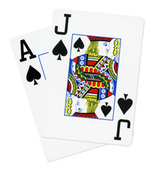 Blackjack cards isolated on white background.