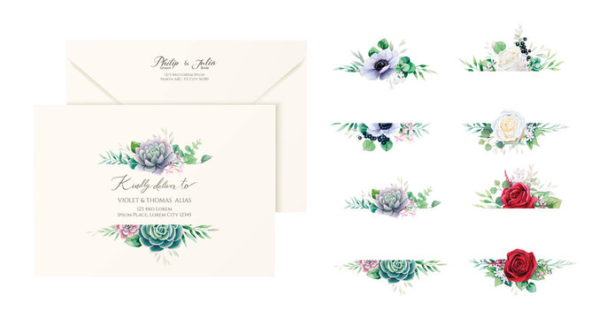 Set of beautiful floral labels and badges for wedding envelope address, banners or backdrop. Succulent, red and white rose, Anemone flower image. All elements are isolated and editable. Vector