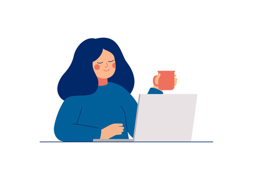 Young teenage woman uses laptop for work or chatting with friends. Daily life of office employee, creative freelance worker or writer. Flat cartoon vector illustration.