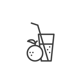 Orange juice line icon. Fresh drink linear style sign for mobile concept and web design. Orange lemonade glass outline vector icon. Bar beverages symbol, logo illustration. Vector graphics
