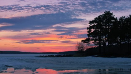 Fotobehang - Beautiful pine trees silhouettes at frozen pond lake, epic colorful sunset sky in background. 4k UHD.