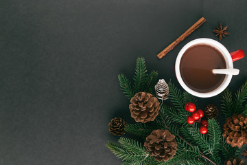 Foto auf Acrylglas Schokolade Black granite table decorate pine leaf and pine cones, holly balls and cup of hot chocolate or cacao in Christmas drink concept. Background in top view flat lay with copy space for Christmas wallpaper