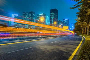 Fotomurales - light trails in the downtown district, china.