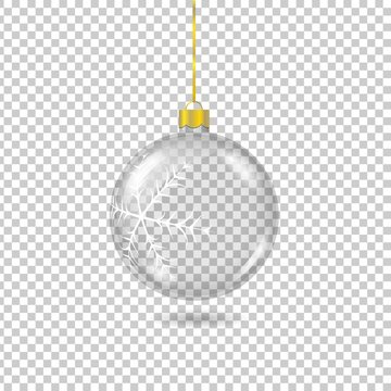 Vector transparent christmas tree ball with with gold eyelet isolated on checkered background. 3D illustration.
