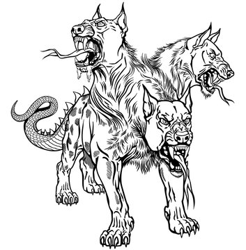 Cerberus hellhound Mythological three headed dog the guard of entrance to hell. Hound of Hades. Isolated tattoo style black and white vector illustration