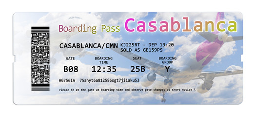 Airline boarding pass ticket to Casablanca (Morocco - Africa) - all the contents of the concept image are totally invented and does not contain under copyright parts