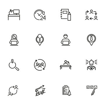 Finding job line icon set. Best worker, employee, workplace. Human resource concept. Can be used for topics like office, staff, personnel