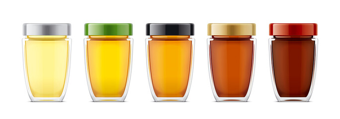 Set of Glass Jar with Honey.
