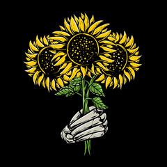 Skeleton hands holding sunflower illustration. Sunflower bouquet design for poster, tshirt , sticker, or phone wallpaper