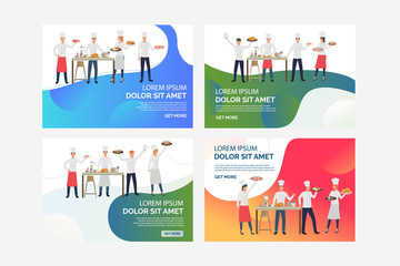 Set of illustrations of chefs participating in meal competition. Cook, dish, kitchen. Flat vector illustration with restaurant business concept for banner, website design or landing web page