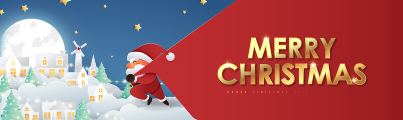 Fototapete - Merry christmas composition in paper cut style.Santa Claus with a huge bag on the run to delivery christmas gifts. Vector illustration.