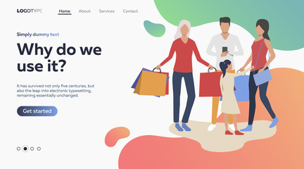 Vector illustration of family doing shopping together. Purchase, clothes, market. Shopping concept for banner, website design or landing web page