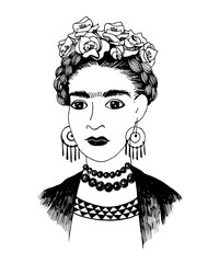 Hand sketched Frida Kahlo portrait