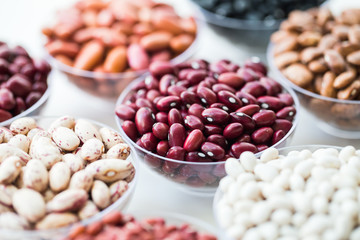 collection set of beans, legumes on bowl on white background