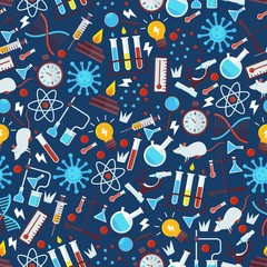 Chemistry seamless pattern, vector illustration. Laboratory research icons in flat style, chemical glassware emblems. Science lab items, pharmacy and medicine studying