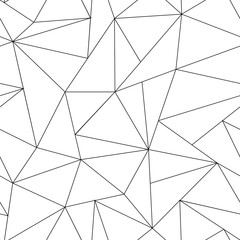 Abstract triangle seamless pattern. Irregular polygonal linear grid. Geometric background. Vector black and white backgroung