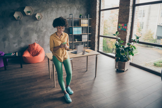 Full size photo of joyful afro american girl entrepreneur using cellphone reading social networking news chatting with colleagues in office loft workstation