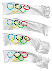 Set of long Olympic flags isolated