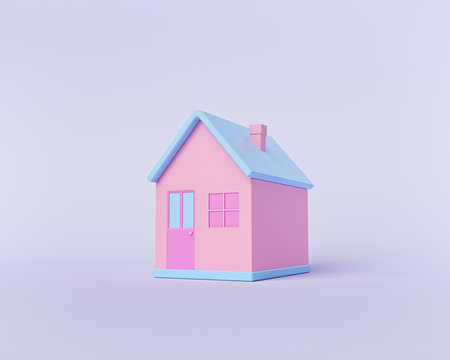 minimal cute house isolated on pastel background. cartoon style. 3d rendering