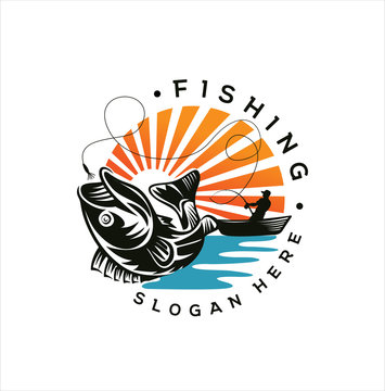 Fishing logo design template. Fishing logo bass fish with club emblem fishing . Sportfishing Logo .  fisherman logo