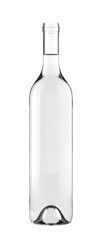 Foto auf AluDibond Alkohol Standard Clear Full Open Wine Glass Bottle. 26oz or 750ml (75cl, 0.75l) volume. Isolated 3D rendered Mock Up on White Background.