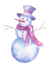 Watercolor snowman isolated on white background.