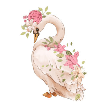 Beautiful hand drawn watercolor dreaming swan with rose flowers, floral bouquet