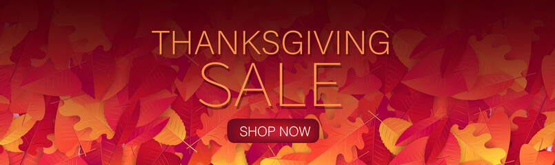 Thanksgiving sale banner, website header or newsletter cover. Red and orange fall leaves realistic vector illustration with lettering.